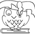 Eule (mit Narrenkappe) auf einem geschlossenem Buch - eine Zeichnung von Olaf Zernick