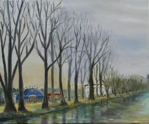 """Gerhard Jaeger - Bild """"Kanal mit Zirkus 1"""""""