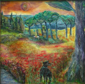"Gerhard Jaeger alias ""Erwin von der Panke"": Bild ""Hund im Mohn"" - this is a picture from the painter Gerhard Jaeger - the title is ""Dog in the poppy"""