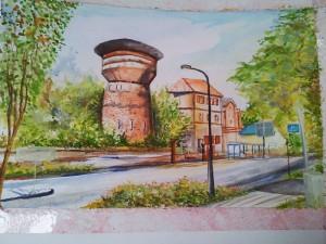 Silas Malack: Stadtansicht - Königs Wusterhausen - Wasserturm