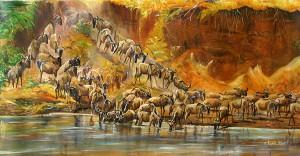 "Artist: Silas Malack with the painting: ""the great wonder"" - Gemälde mit dem Titel ""Das große Wunder"""