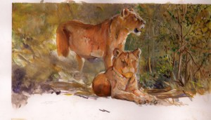 "Die Brüder Silas Malack und Lizah Albert mit dem unvollendetem Bild ""Löwen"" ""The brothers Silas Malack and Lizah Albert with the unfinished picture ""Lions"""