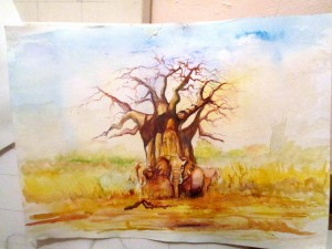 "Malack Silas: ""Under the Giant"" unfinished Water color on paper"